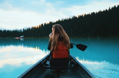 Girl in a canoe