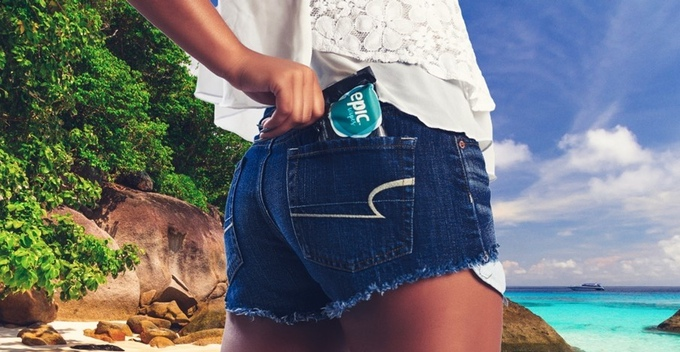 Girl with pack of Epic Wipes in a back pocket
