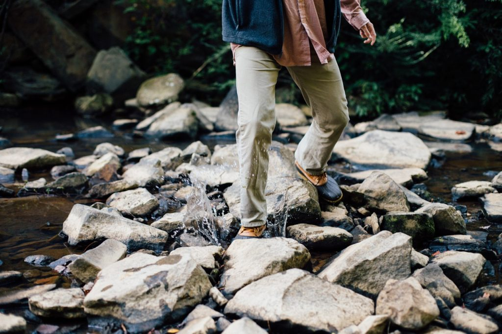 Legs of a Hiker on a Woodland Stream