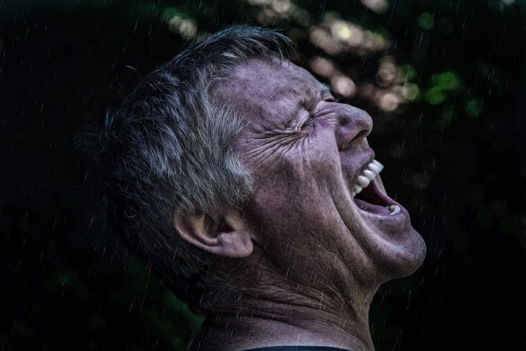 Man screaming in the woods