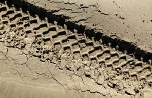 Tire track in mud