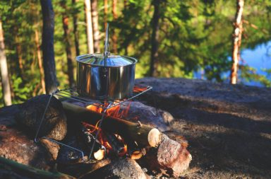 Cooking Pot Over Campfire